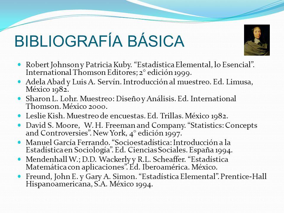 BIBLIOGRAFÍA BÁSICARobert Johnson y Patricia Kuby. Estadística Elemental, lo Esencial . International Thomson Editores; 2° edición 1999.
