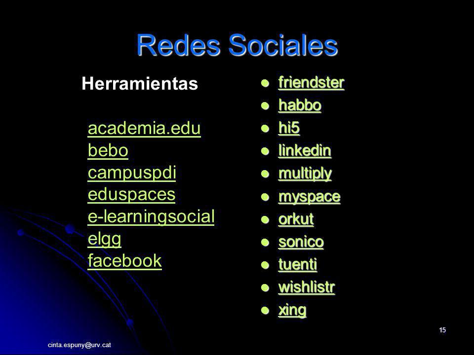 Redes Sociales Herramientas academia.edu bebo campuspdi eduspaces