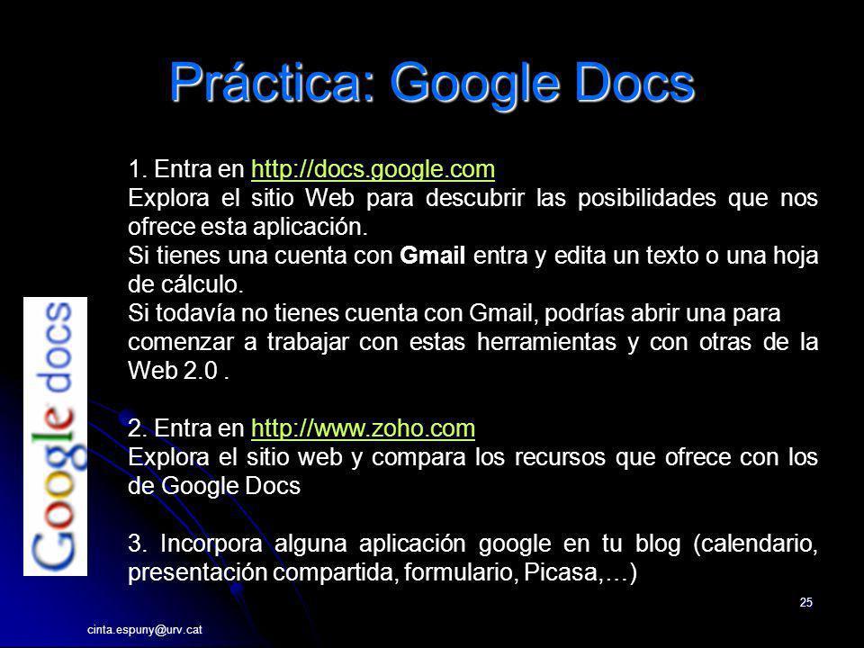 Práctica: Google Docs 1. Entra en http://docs.google.com