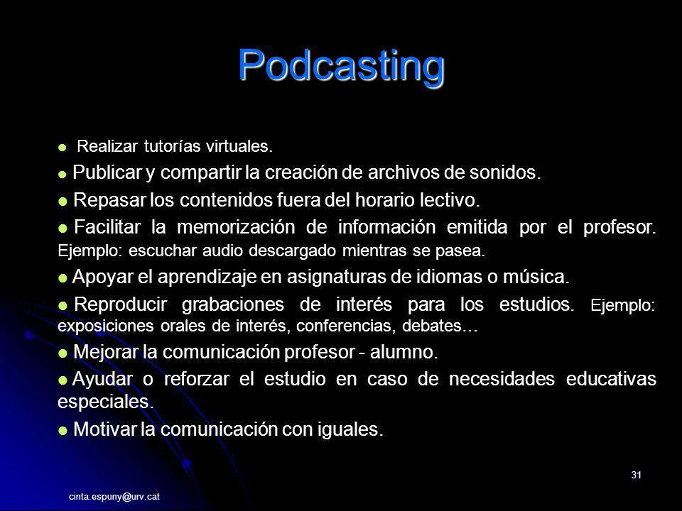 Podcasting Repasar los contenidos fuera del horario lectivo.