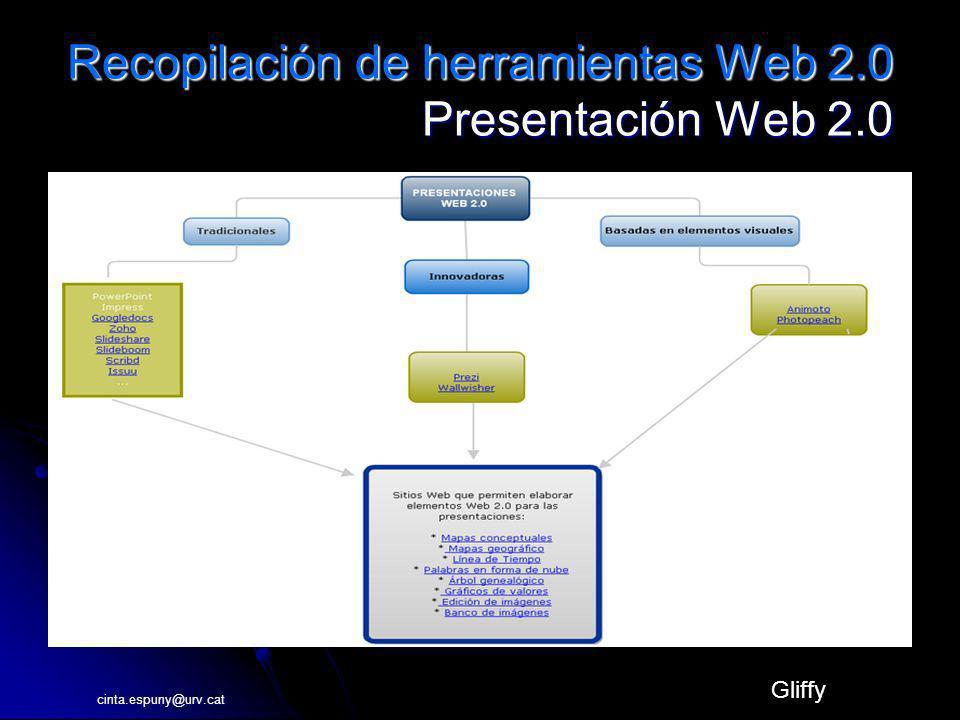 Recopilación de herramientas Web 2.0 Presentación Web 2.0