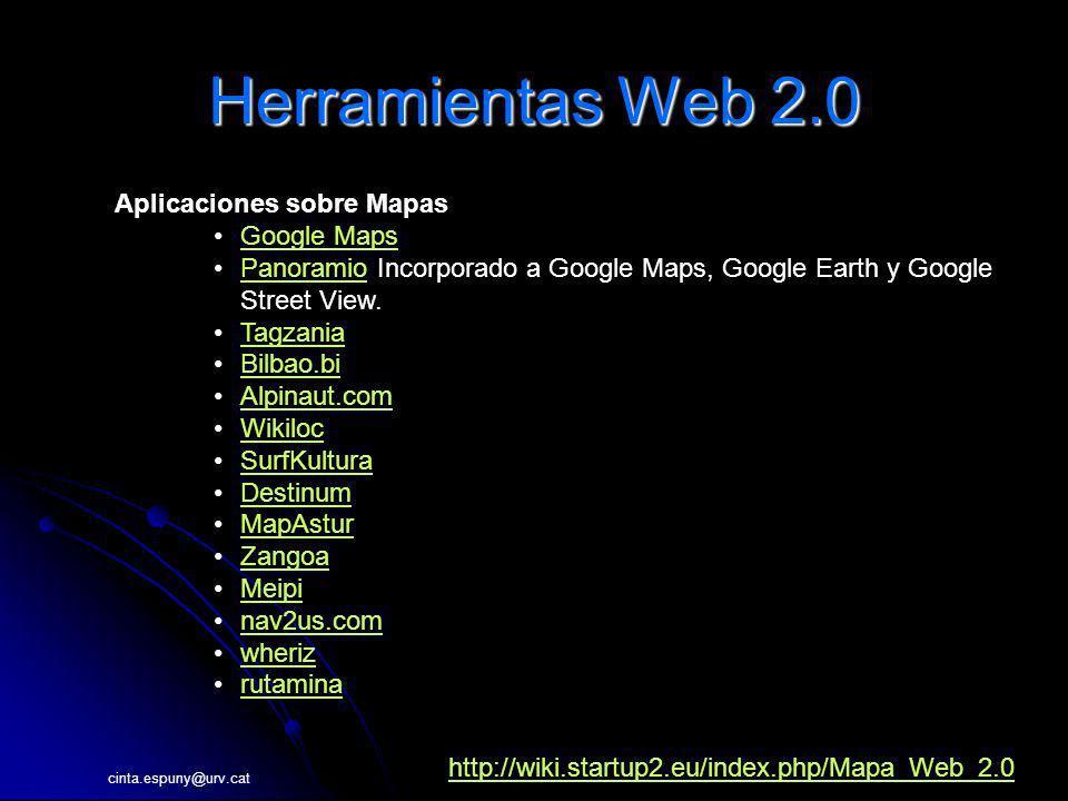 Herramientas Web 2.0 Aplicaciones sobre Mapas Google Maps