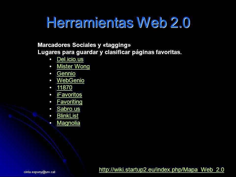 Herramientas Web 2.0 Marcadores Sociales y «tagging»