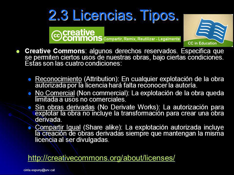 2.3 Licencias. Tipos. http://creativecommons.org/about/licenses/