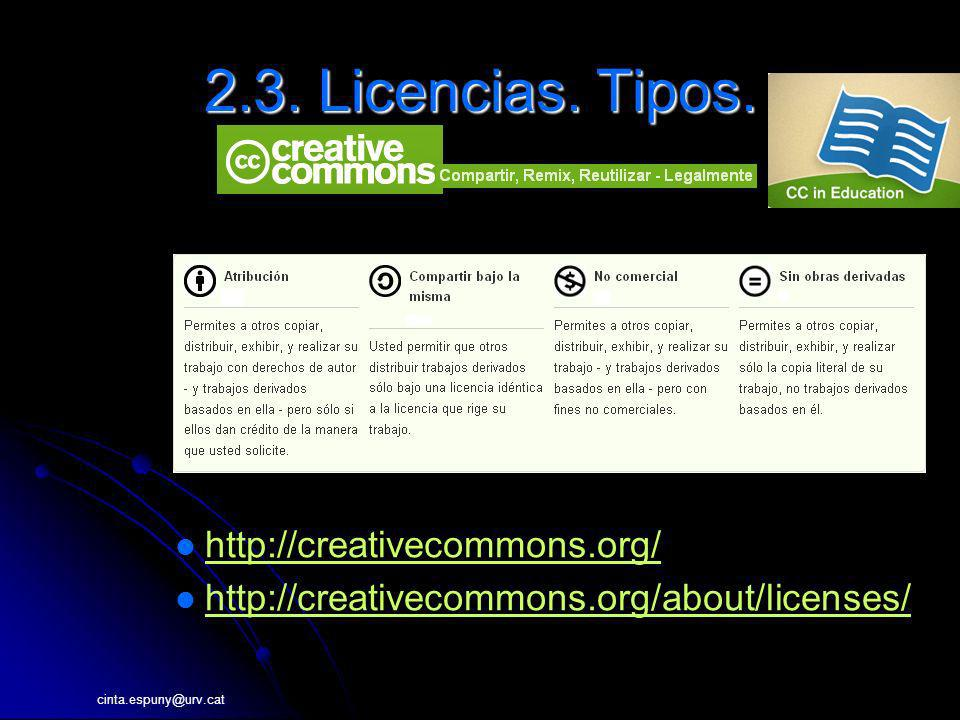 2.3. Licencias. Tipos. http://creativecommons.org/