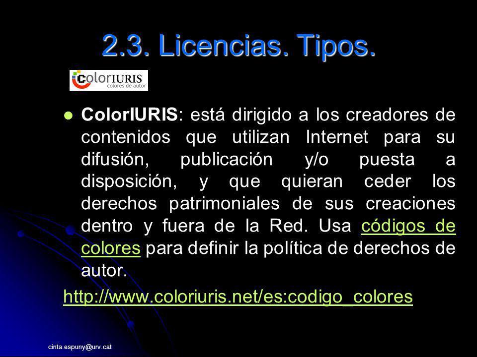 2.3. Licencias. Tipos.