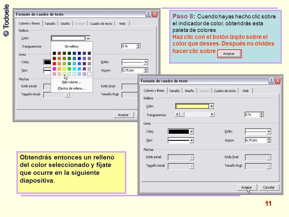Paso 8: Cuando hayas hecho clic sobre el indicador de color, obtendrás esta paleta de colores