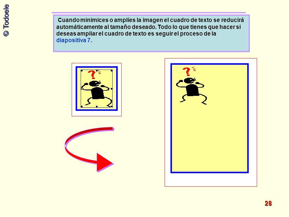 Cuando minimices o amplíes la imagen el cuadro de texto se reducirá automáticamente al tamaño deseado.