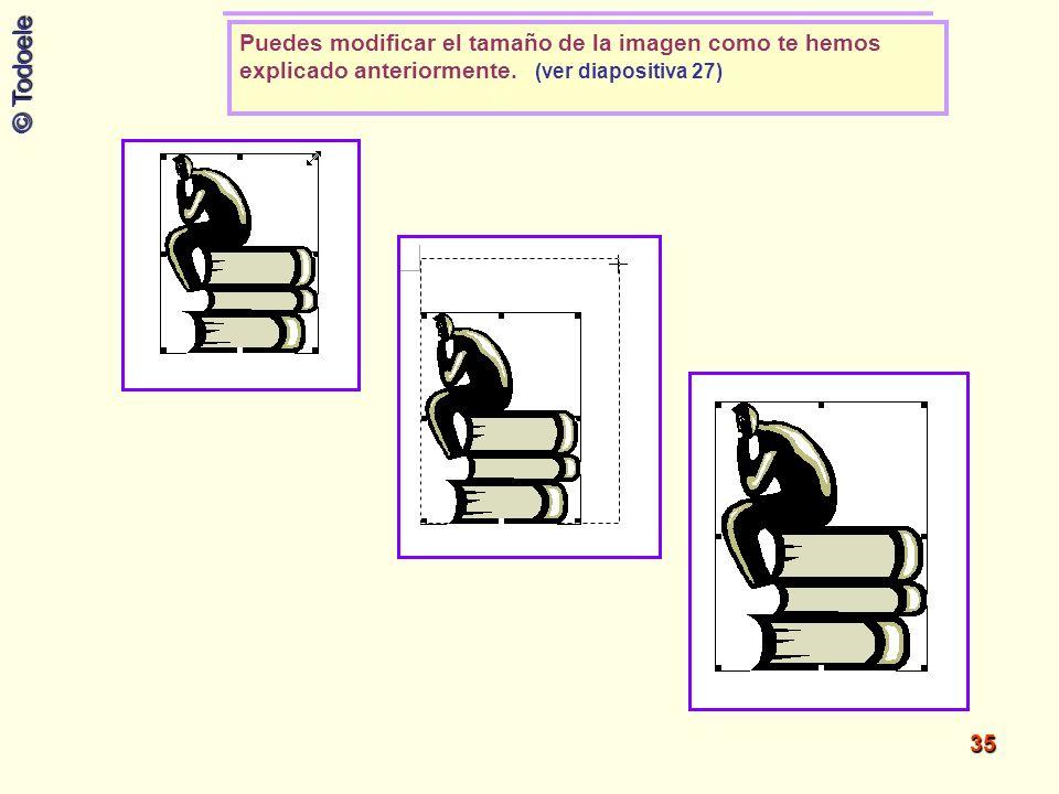 Puedes modificar el tamaño de la imagen como te hemos explicado anteriormente. (ver diapositiva 27)
