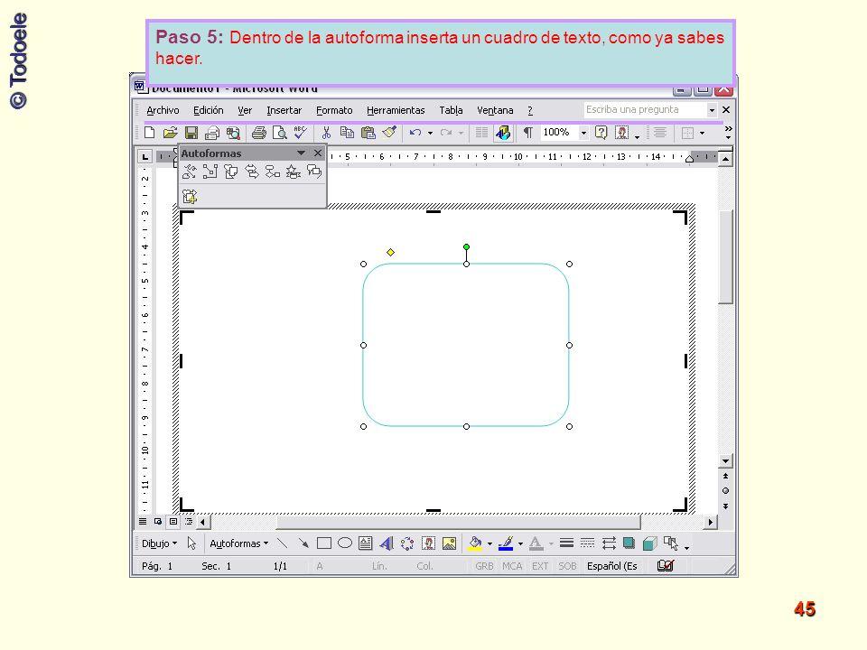 Paso 5: Dentro de la autoforma inserta un cuadro de texto, como ya sabes hacer.