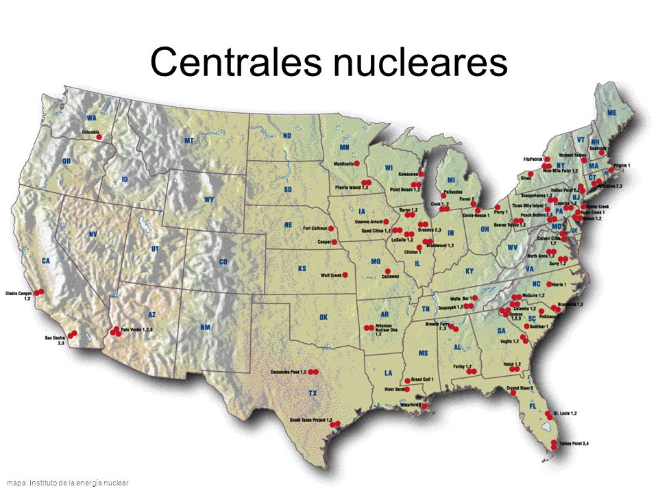 Centrales nucleares http://www.uic.com.au/graphics/US%20Nuclear%20map.jpg.