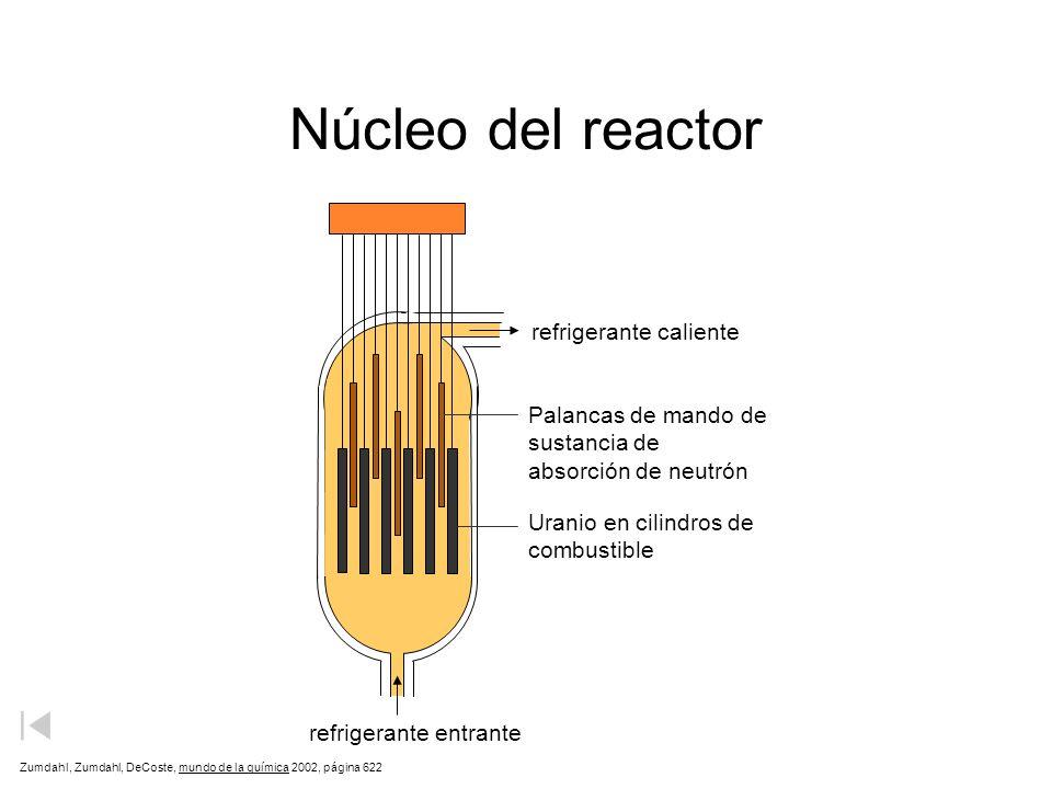 Núcleo del reactor refrigerante caliente Palancas de mando de