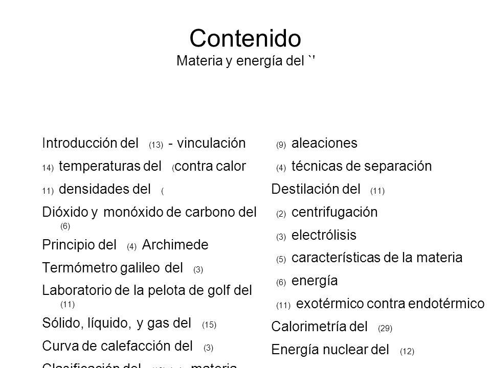 Contenido Materia y energía del `
