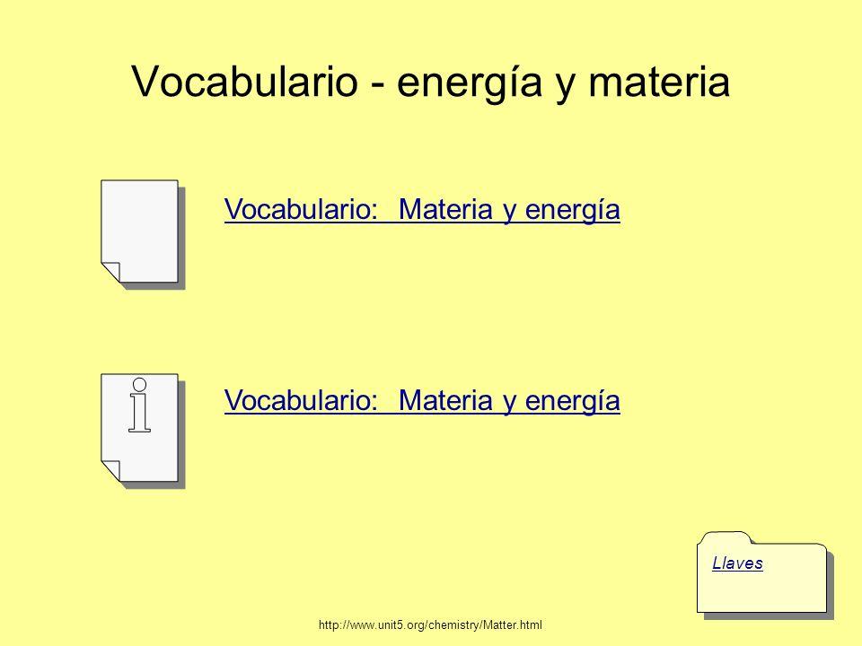 Vocabulario - energía y materia
