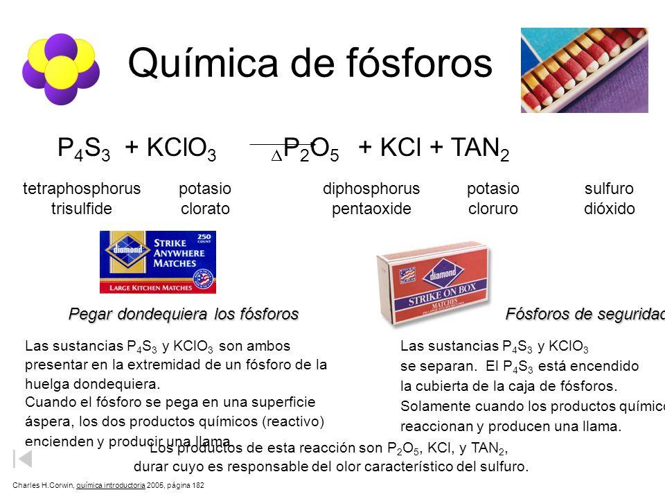Química de fósforos P4S3 + KClO3 P2O5 + KCl + TAN2 D tetraphosphorus