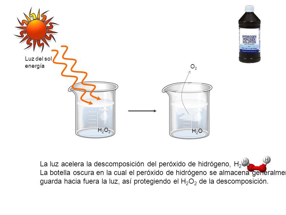 La luz acelera la descomposición del peróxido de hidrógeno, H2O2.