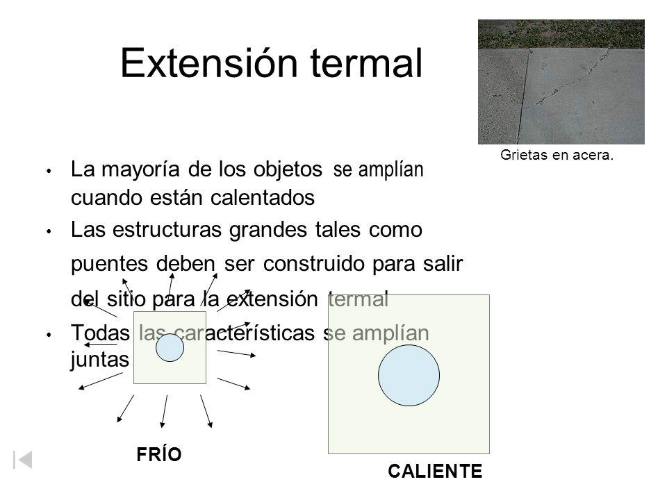 Extensión termal La mayoría de los objetos se amplían cuando están calentados.