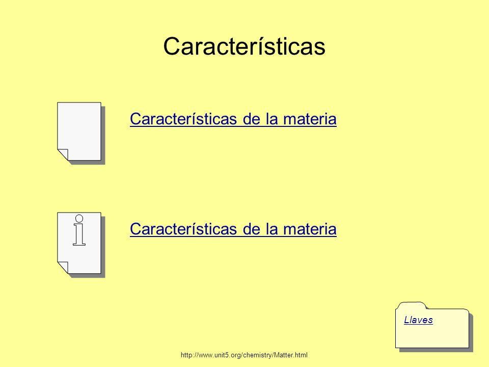 Características Características de la materia