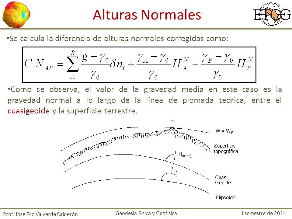 Alturas Normales Se calcula la diferencia de alturas normales corregidas como: