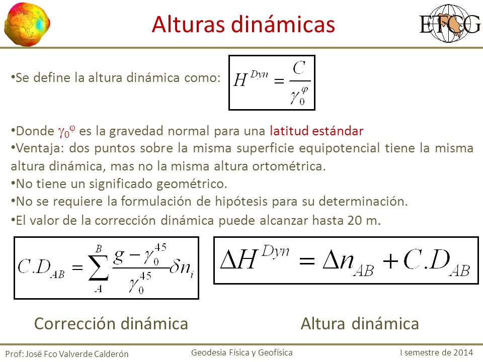 Alturas dinámicas Corrección dinámica Altura dinámica