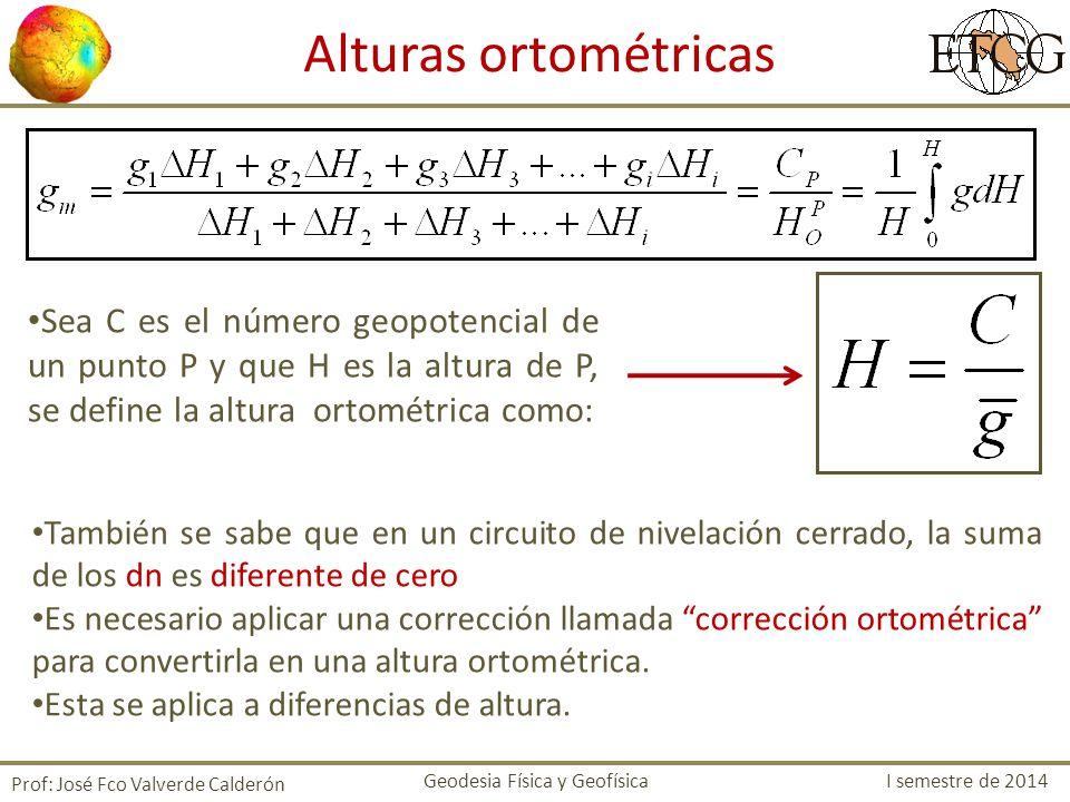 Alturas ortométricas Sea C es el número geopotencial de un punto P y que H es la altura de P, se define la altura ortométrica como: