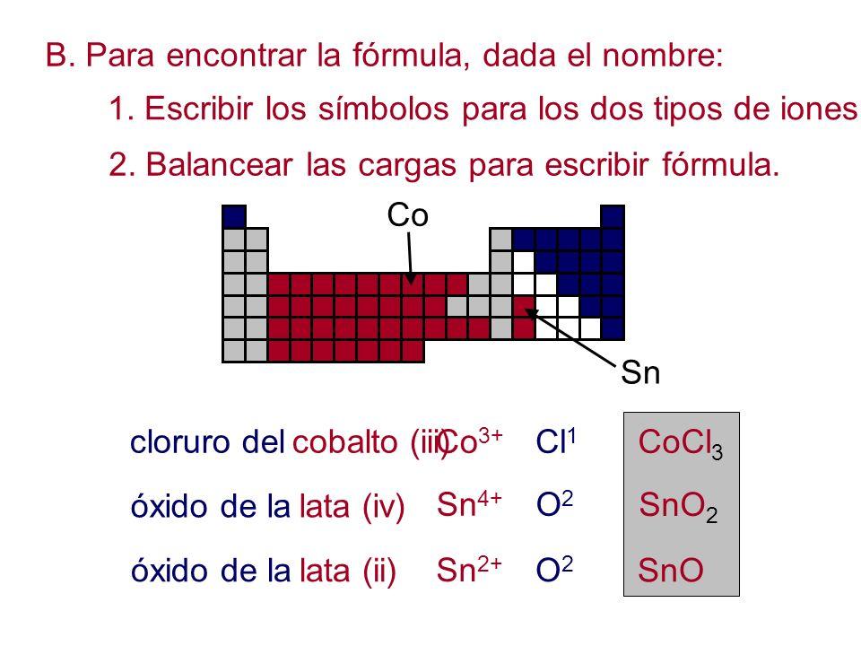 B. Para encontrar la fórmula, dada el nombre: