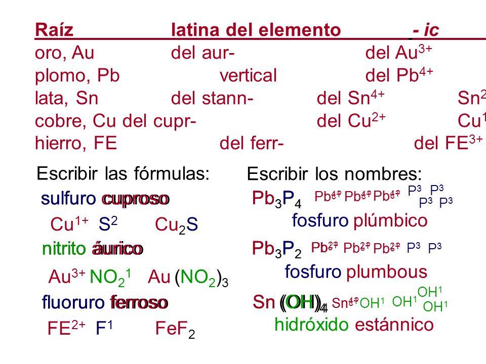 Raíz latina del elemento - ic - ous oro, Au del aur- del Au3+ Au1+