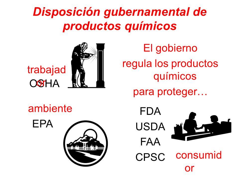 Disposición gubernamental de productos químicos