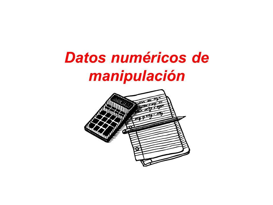 Datos numéricos de manipulación