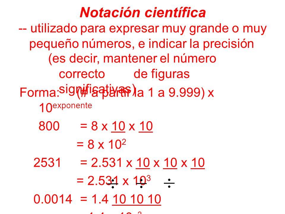 Notación científica -- utilizado para expresar muy grande o muy pequeño números, e indicar la precisión.