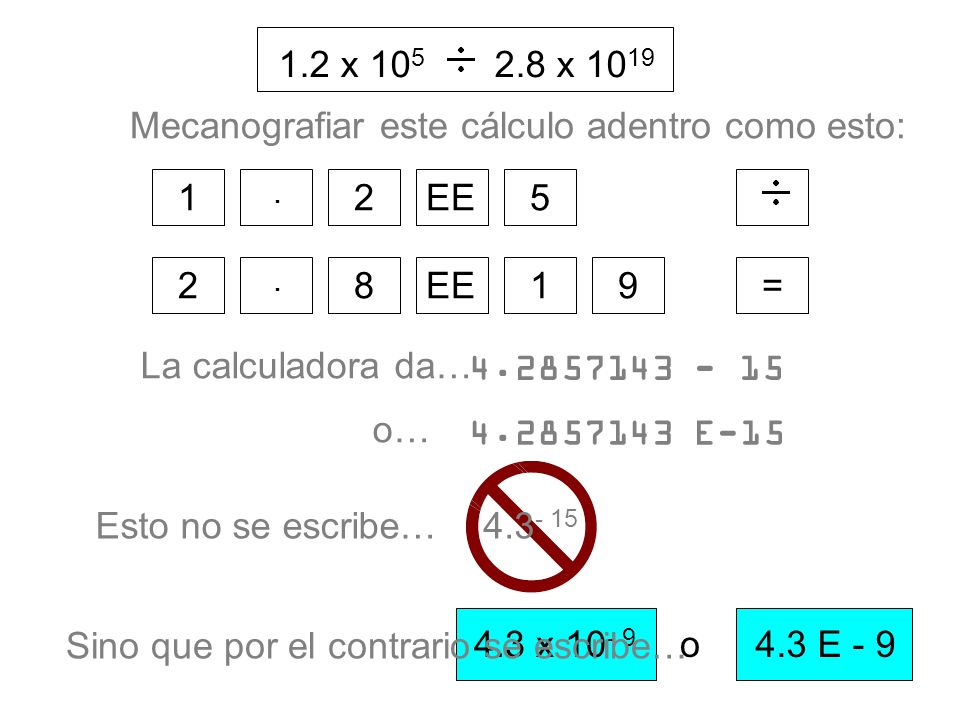 1.2 x 105 2.8 x 1019. = 1. . 2. EE. 5. 9. 8. Mecanografiar este cálculo adentro como esto: