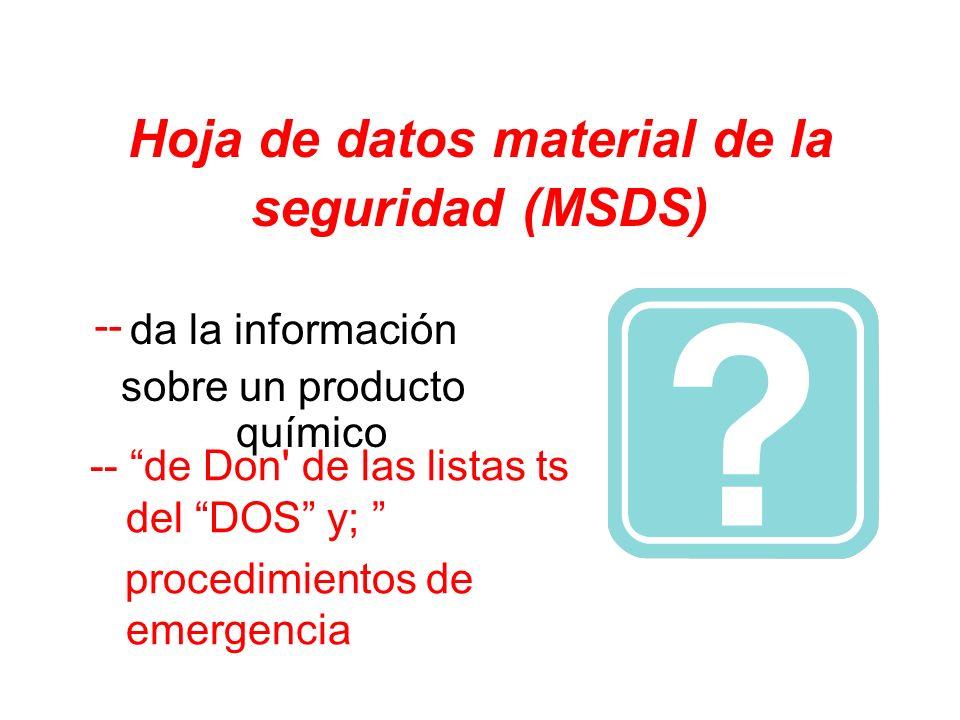 Hoja de datos material de la seguridad (MSDS)
