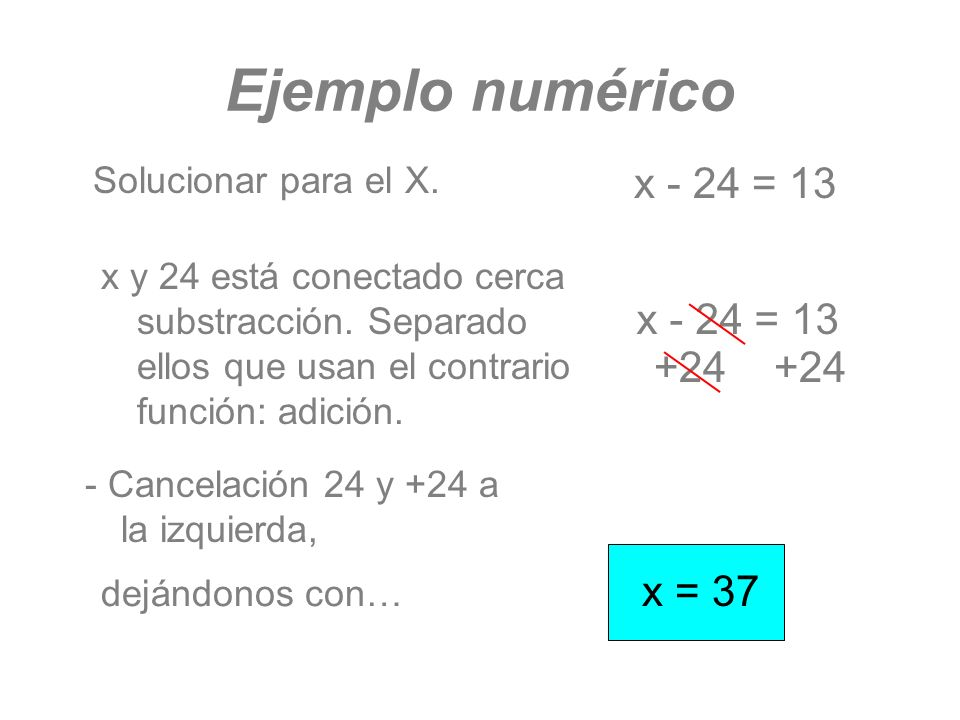 Ejemplo numérico x - 24 = 13 x - 24 = 13 +24 +24 x = 37