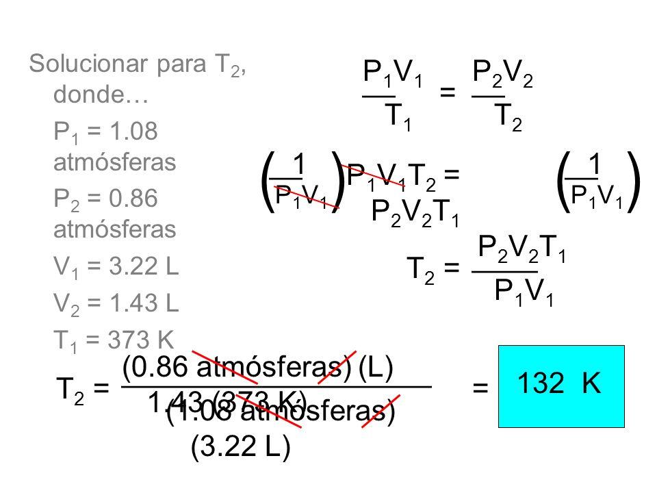 ( ) __ T1 P1V1 = P2V2 T2 1 __ P1V1T2 = P2V2T1 T2 = P1V1 ____ P2V2T1