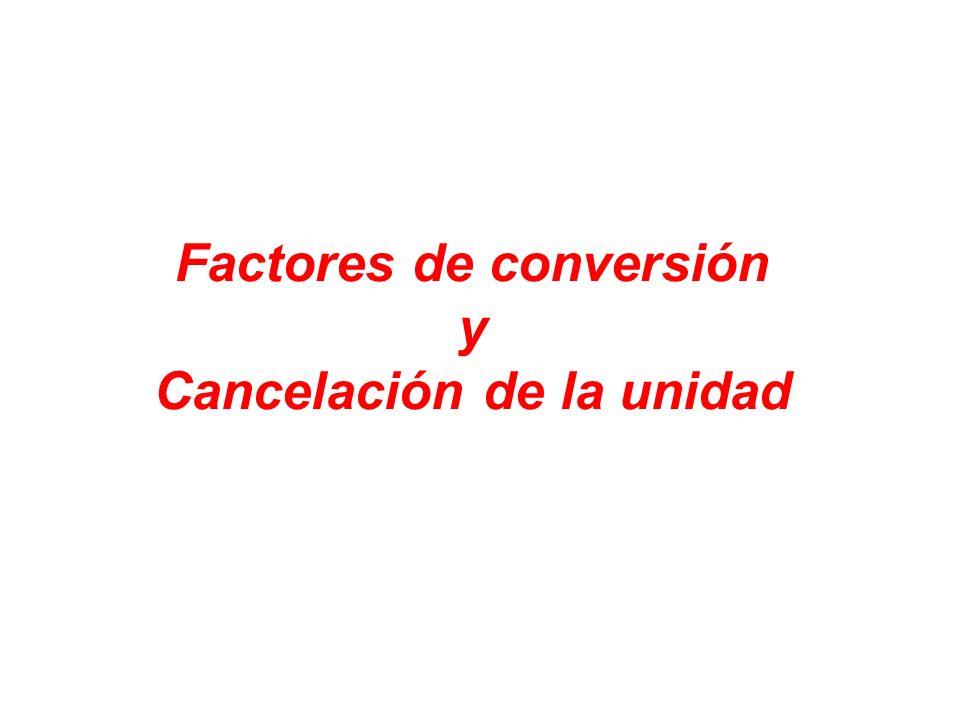 Factores de conversión y Cancelación de la unidad