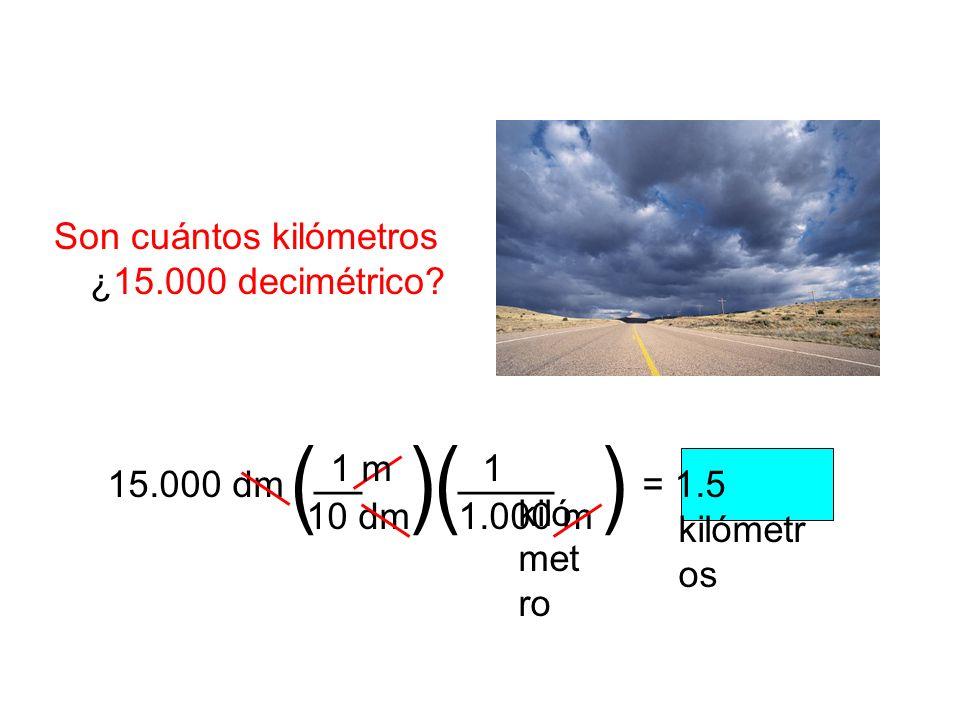 ( ) ( ) __ ____ Son cuántos kilómetros ¿15.000 decimétrico 10 dm 1 m