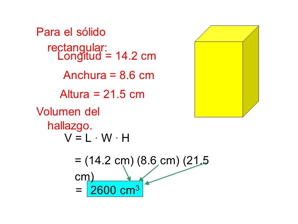 Longitud = 14.2 cm Anchura = 8.6 cm Altura = 21.5 cm V = L . W . H