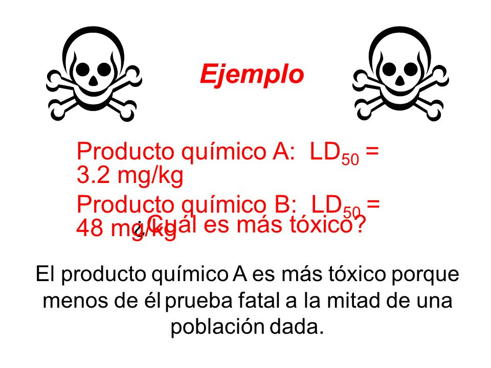 Ejemplo Producto químico A: LD50 = 3.2 mg/kg