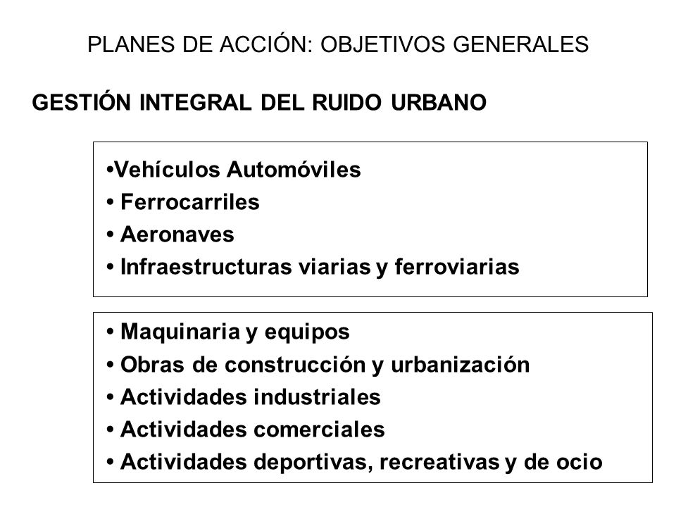 PLANES DE ACCIÓN: OBJETIVOS GENERALES