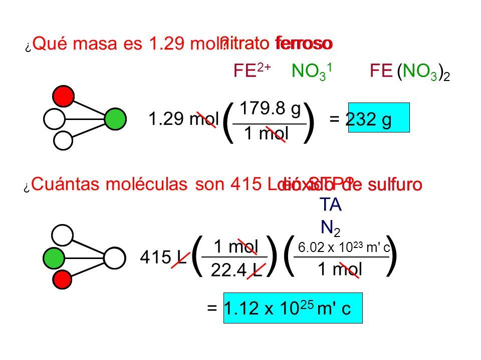 ( ) ( ) ( ) nitrato ferroso nitrato ferroso FE2+ NO31 FE (NO3)2
