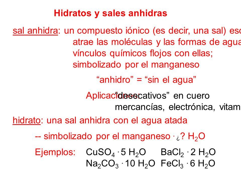Hidratos y sales anhidras