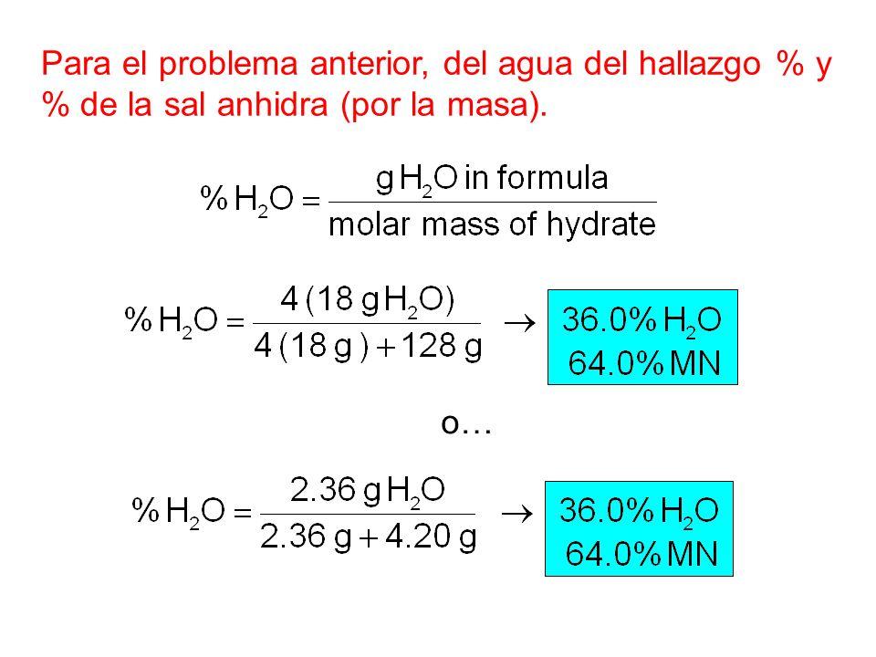 Para el problema anterior, del agua del hallazgo % y
