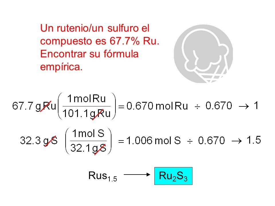 Un rutenio/un sulfuro el compuesto es 67.7% Ru.