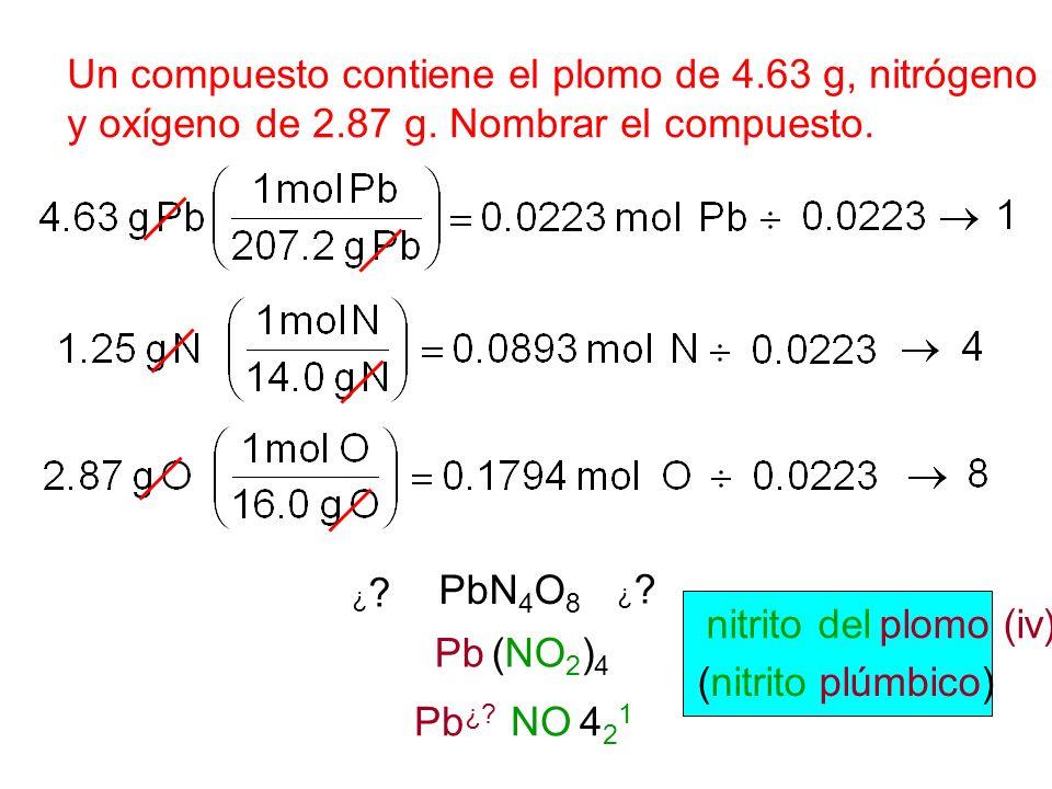 Un compuesto contiene el plomo de 4.63 g, nitrógeno 1.25 de g,