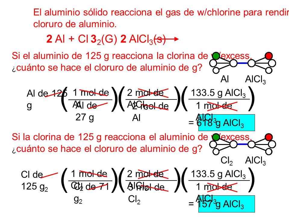 ( ) ( ) ( ) ( ) ( ) ( ) 2 Al + Cl 32(G) 2 AlCl3(s)