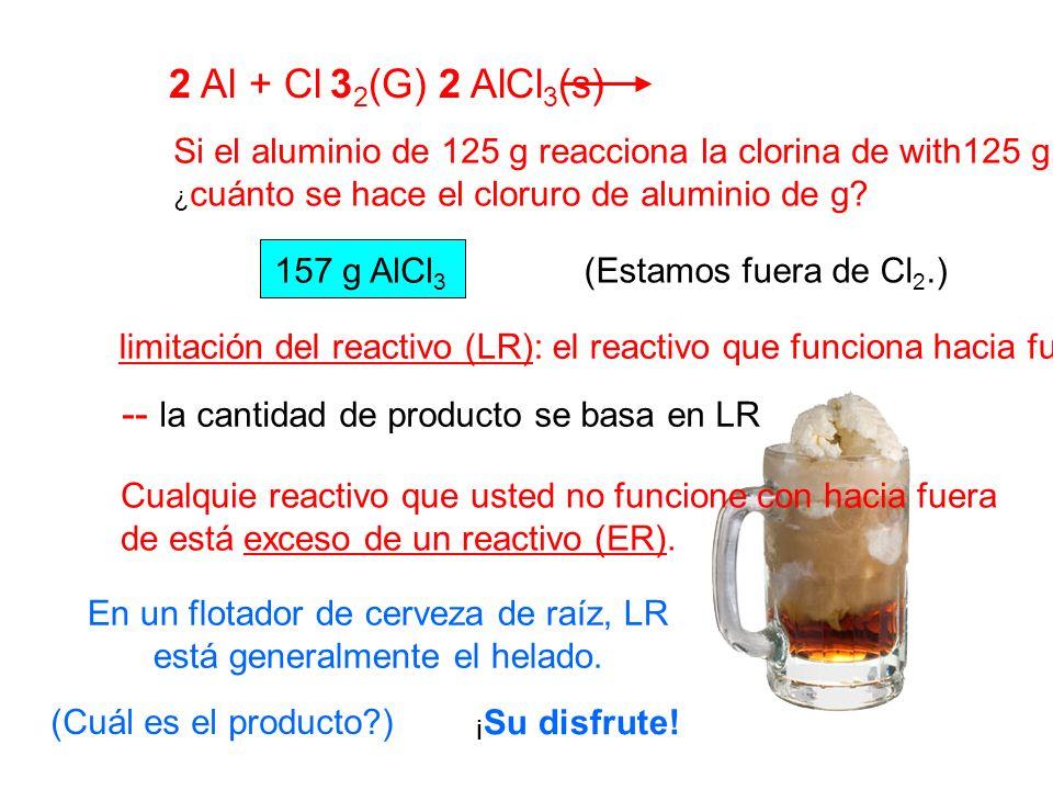 2 Al + Cl 32(G) 2 AlCl3(s) Si el aluminio de 125 g reacciona la clorina de with125 g, ¿cuánto se hace el cloruro de aluminio de g