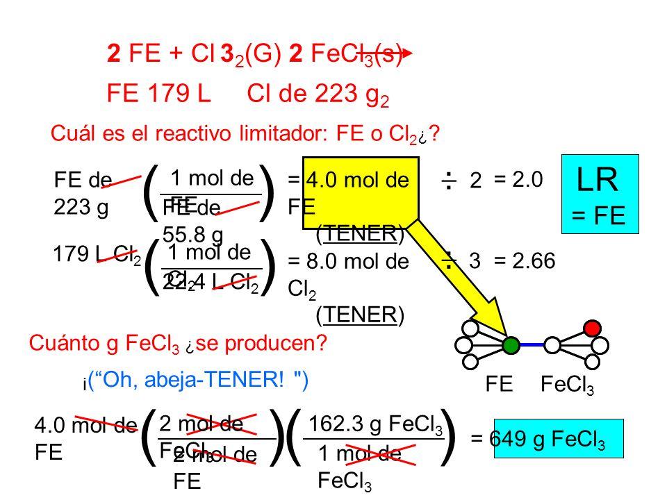 ( ) ( ) ( ) ( ) LR 2 FE + Cl 32(G) 2 FeCl3(s) FE 179 L Cl de 223 g2 _