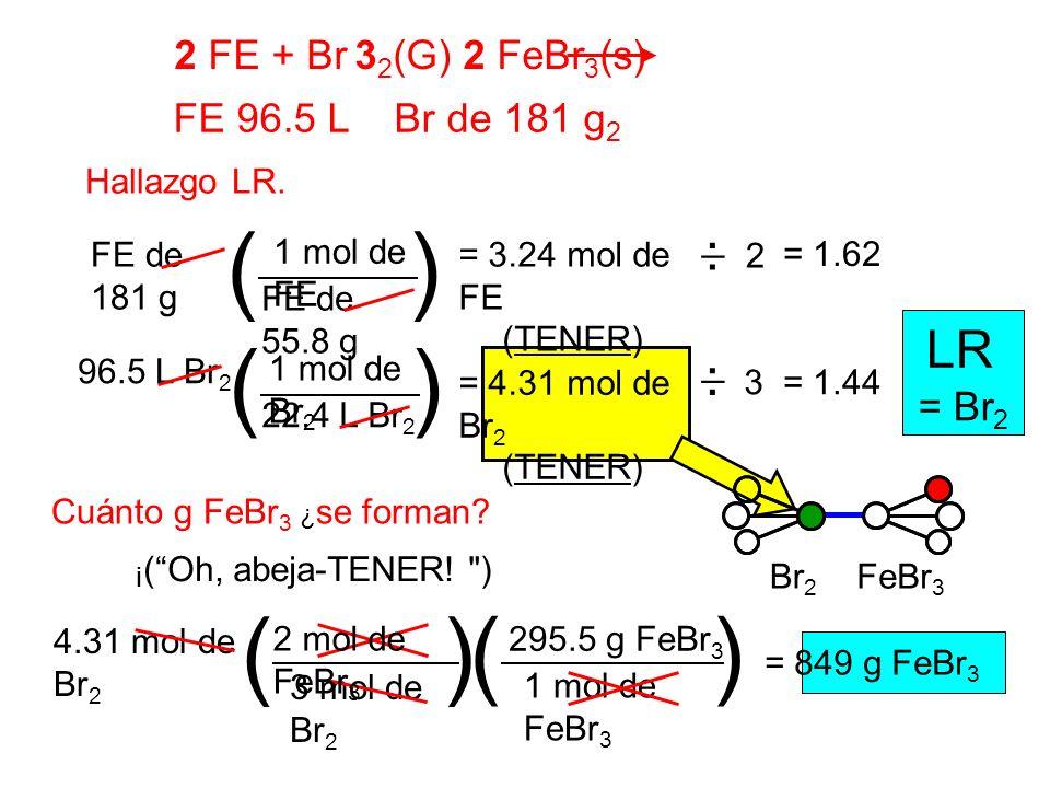 ( ) ( ) ( ) ( ) LR 2 FE + Br 32(G) 2 FeBr3(s) FE 96.5 L Br de 181 g2 _