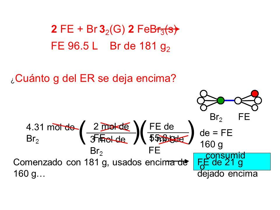 ( ) ( ) 2 FE + Br 32(G) 2 FeBr3(s) FE 96.5 L Br de 181 g2 Br2 FE