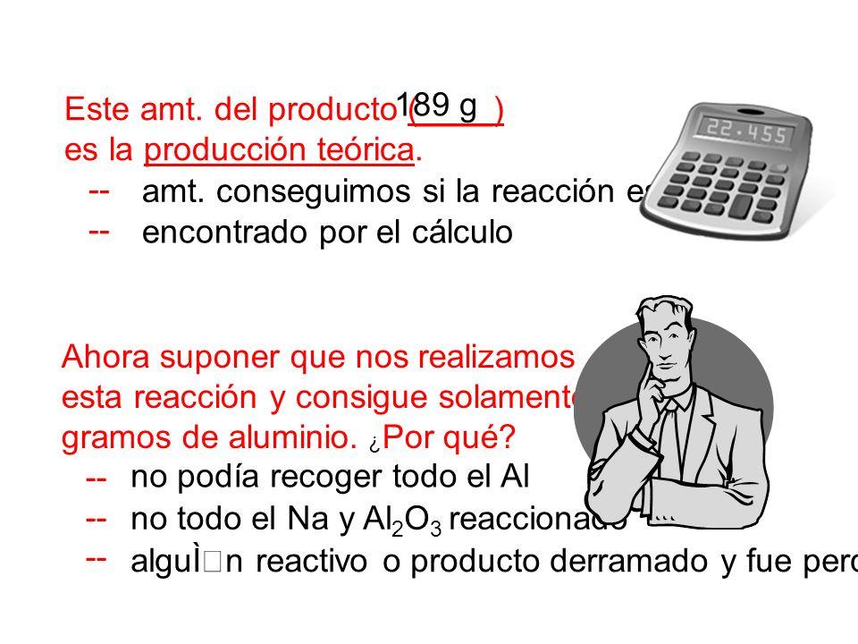 Este amt. del producto (____) es la producción teórica. 189 g